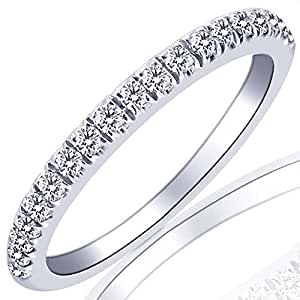 Pave Set Diamond Wedding Anniversary Band 10k White Gold size 4 (0.32 Cttw, I Color I Clarity)
