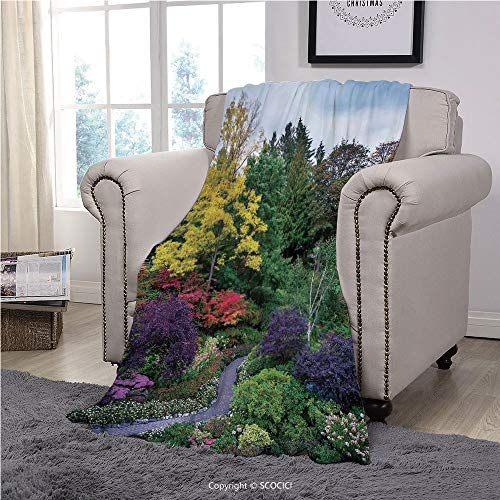 №16523 Super Soft Velvet Plush Throw Blanket Custom Design Cozy Fleece Blanket, Country Home Decor,Famous Masterpiece Of Park Architecture Butchart Gardens Colorful Flowers Leaves Print,, Perfect For (Best Month To Visit Butchart Gardens)