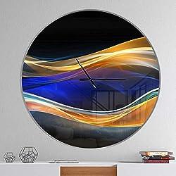 Designart 3D Gold Blue Wave Design' Oversized Modern Metal Clock, Circle Wall Decoration Art, 38x38 Inches