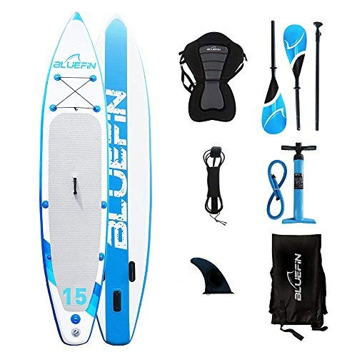 Bluefin SUP Stand Up Inflatable Paddle Board with Kayak Conversion Kit | Ultimate iSUP Kayak Bundle (10'8  and 12'0 ) (Blue 15') [並行輸入品]   B07K1DX2LC