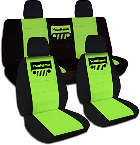 Rear Solid Full Door - Totally Covers Fits 2011-2018 Jeep Wrangler JK Two-Tone Grill Seat Covers w Your Name/Text: Black & Lime Green - Full Set: Front & Rear 2012 2013 2014 2015 2016 2017 2-Door/4-Door Solid/Split Bench