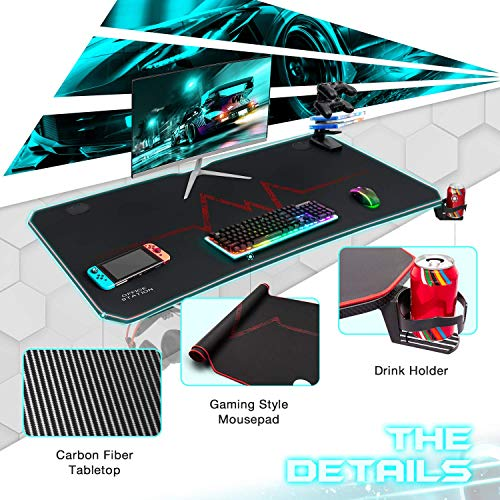 Furmax 44 Inch Gaming Desk T-Shaped PC Computer Table with Carbon Fibre Surface Free Mouse Pad Home Office Desk Gamer Table Pro with Game Handle Rack Headphone Hook and Cup Holder (Red)