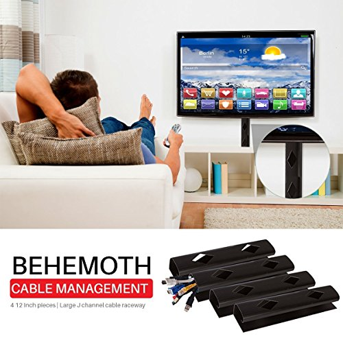 BEHEMOTH Cable Management | 4 12 Inch Pieces | Large J Channel Cable Raceway | HARDWARE INCLUDED | TV | Home | Office | Floor | Adhesive Wire Tray | Cable Hider (Black) by NeetGeek (Image #5)