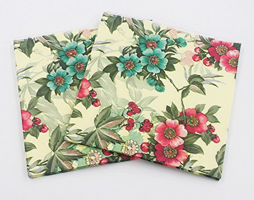 WallyE Shabby Chic Floral Paper Napkins for Thanksgiving Garden Party or Wedding, 20 Pack