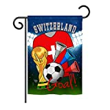 Cheap Ornament Collection GS192115-P3 World Cup Switzerland Soccer Interests Sports Impressions Decorative Vertical 13″ x 18.5″ Garden Flag Set with Banner Pole Included Printed in USA