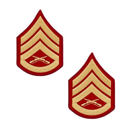 USMC Gold on Red Chevron, Male Staff Sergeant S/Sgt (Marine Corps Chevron)