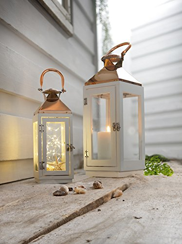PierSurplus 16.5 in. Copper Top White Wooden Candle Lantern with Rose Gold Hanging Loop - Large Product SKU: CL111853 by PierSurplus (Image #5)