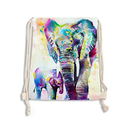 Multicolor Drawstring Backpack Bags Indian Elephants Family Sports Cinch Sack String Backpack Storage Bags for Gym Traveling