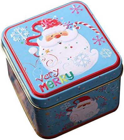 Square Bump Candy Box Decoraciones navideñas Almacenamiento Caja de Hierro Latas de Dulces navideñas Regalo para niños Cubo Sombrero Cubierta Impresión-Azul Anciano: Amazon.es: Hogar
