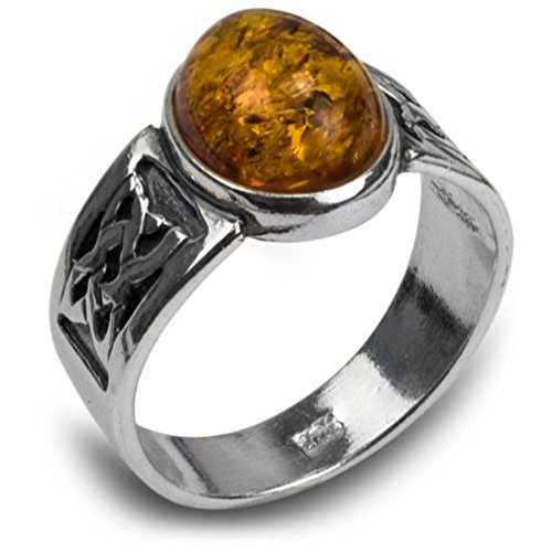 Sterling Silver Amber Oval Classic Celtic Ring