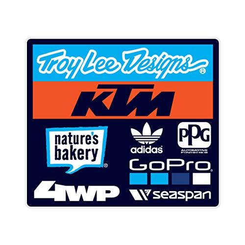 (Troy Lee Designs 2018 TLD KTM Team Sticker; CYN/Org/BLK 4.25
