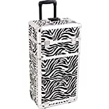 SUNRISE Makeup Case on Wheels 2 in 1 I3262 Cosmetic Organizer, 3 Slide Trays and 4 Small Drawers, Locking with Mirror and Shoulder Strap, White Zebra