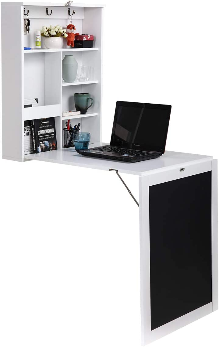Wall Mounted Fold Out Computer Laptop Desk with Storage Bookcase & Chalkboard, Convertible Writing Desk, Home Office Furniture, White + Black