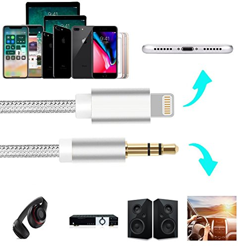 Lightning to Aux Cable, Nikipa 3FT Nylon Braided Lightning to 3.5 mm Male Aux Stereo Audio Cable for iPhone X/8/8 Plus/7/7 Plus by Keklle (Image #3)