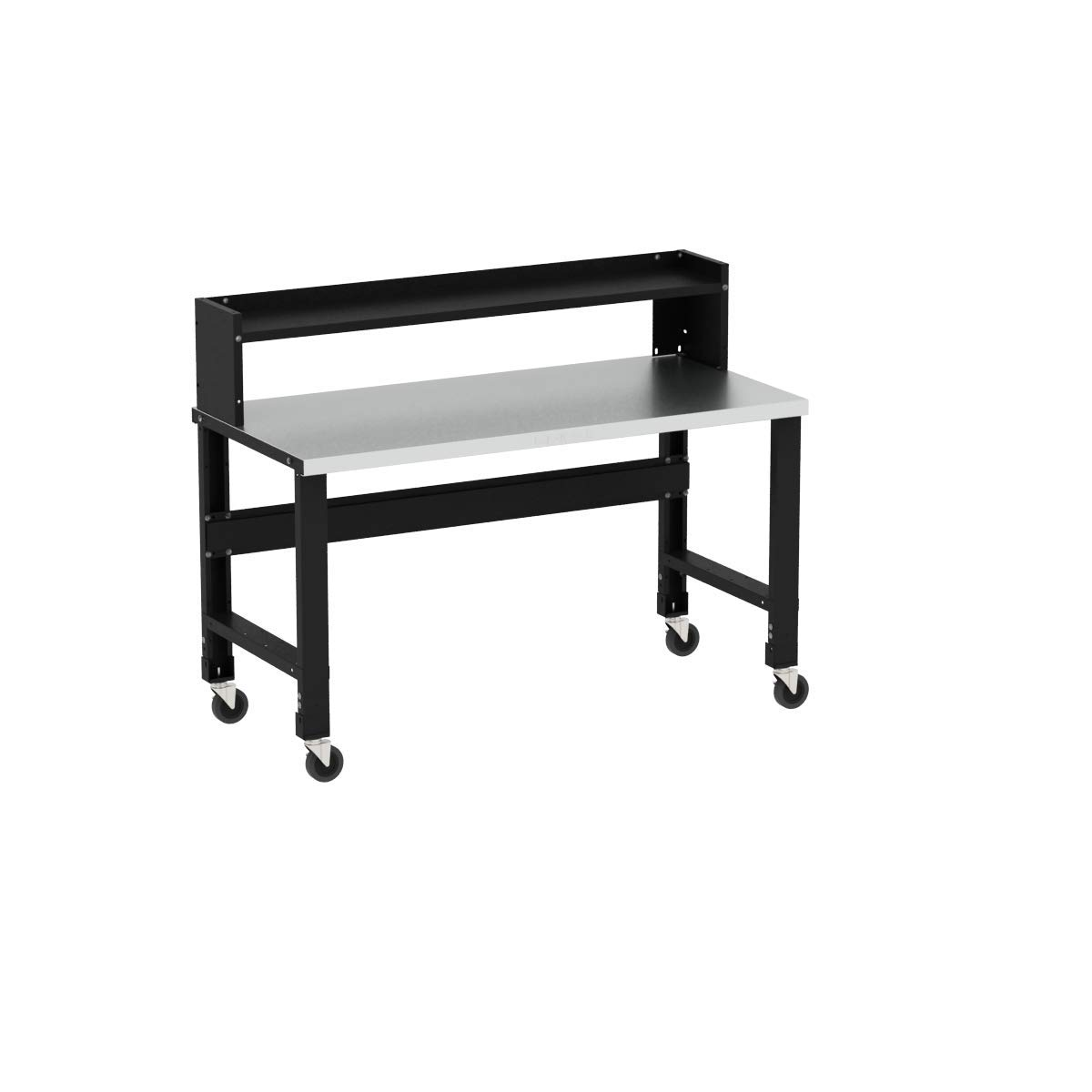 Borroughs Adjustable Height Stainless Steel Top Workbench with Ledge Shelf, 28 in x 60 in