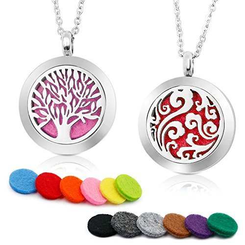 Two Essential Oil Diffuser Necklaces with Replacement Felt Pads from Jasmine's Gifts (Perfume Jasmine Green Apple)