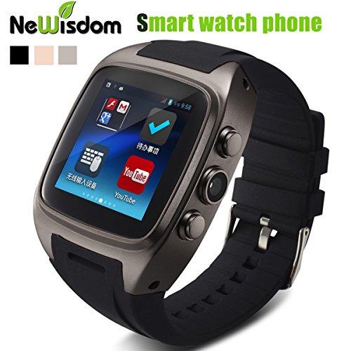 NewisdomTM Best Exercise & Fitness Smartwatch Gear Bluetooth Smart Watch Phone Wristwatch Mate for IOS Android (Smart Watch Phone-GUN METAL)