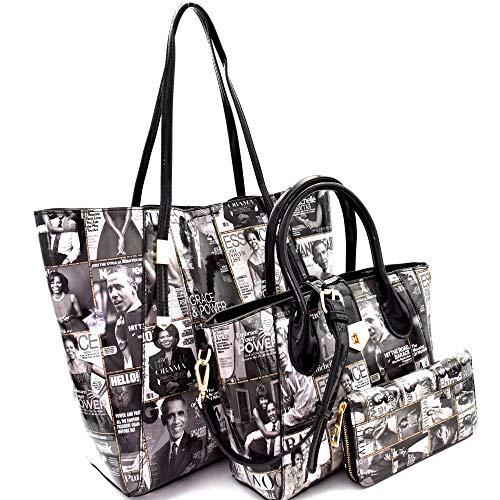 (Magazine Cover Michelle Obama Patent 3 in 1 Tote Handbag Value SET)