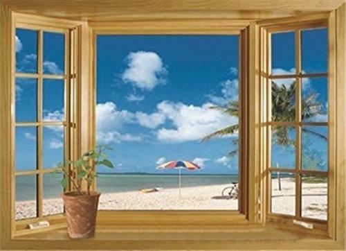 Removable Vinyl Wall Sticker (1 X 3D Beach Window View Removable Wall Stickers Vinyl Decal Home Decor Deco Art)