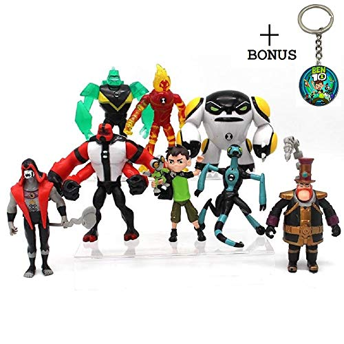 Ben 10 Action Figures - 10-Piece Ben10 Figurine Set with Keychain - Includes Four Arms, Grey Matter, Kineceleran, Diamondhead, Tennyson - Safe and Durable Ben 10 Action Figures - 10-Piece Figurine Set