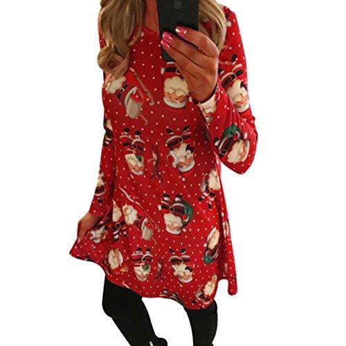 Malloom® Frauen Weihnachten Drucken Swing Kleid Damen Weihnachten ...