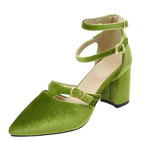 Doppia Elegante Ye Tacco Donna Scarpe Con Cinturino Verde Punta T Blcco Alto A Sala Da Chiusa Fibbia UzUwR