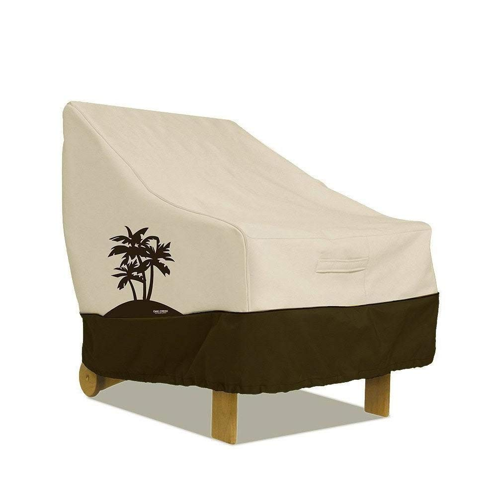 Oak Creek Premium Outdoor Furniture Cover | Patio Chair Cover with Air Vents, Click-Close Straps, Elastic Hem Cord | Made of Heavy Duty Waterproof Fabric with PVC Coating | Palm Tree Design