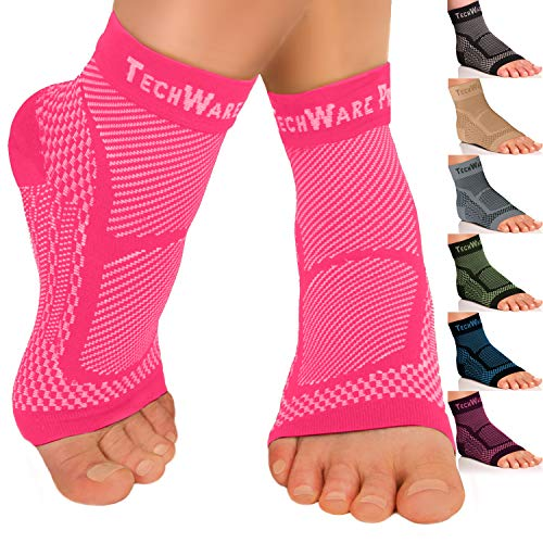 TechWare Pro Ankle Brace Compression Sleeve - Relieves Achilles Tendonitis, Joint Pain. Plantar Fasciitis Foot Sock with Arch Support Reduces Swelling & Heel Spur Pain. Injury Recovery for Sports Ace Bandage Ankle Support