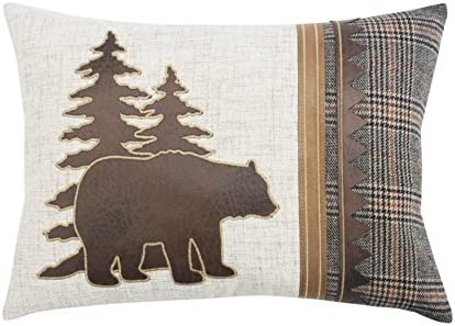 Comfy Hour Rustic Country Vintage Style Home Plaid Bear Cabin Accent Pillow Throw Fashionable Cushion, 18 x13