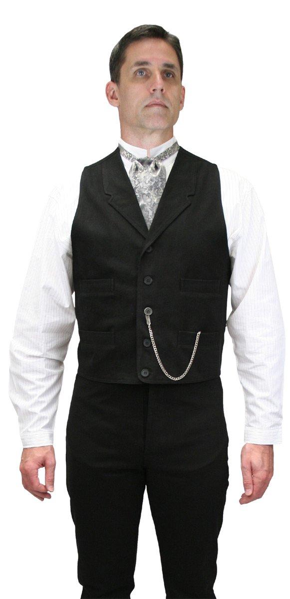 Historical Emporium Men's 100% Brushed Cotton Dress Vest M Black by Historical Emporium
