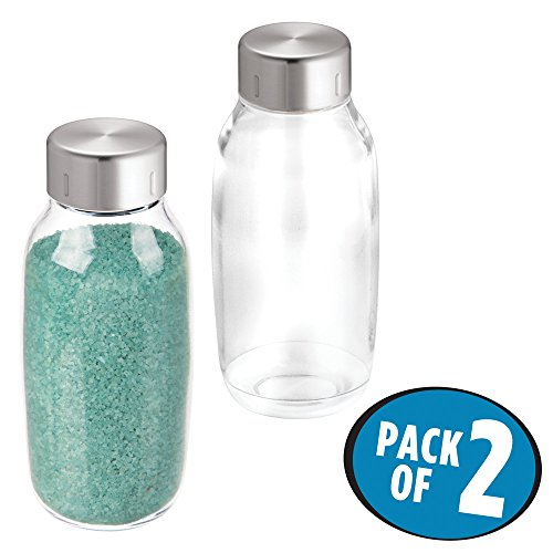 mDesign Bathroom Vanity Storage Bottles for Vanity Counter Top to Hold Bath Salts, Makeup Accessories - Pack of 2, 18 oz, Clear/Brushed Stainless Steel