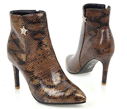 Talon Mariage Aisun Aiguille Coupe Pointue Bottines Brun Femme Strass Elégant Serpent xwx0SURqE