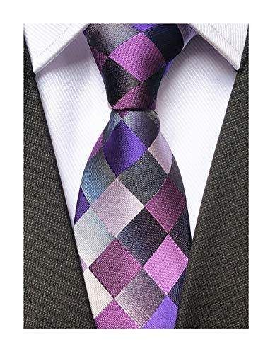- Men's Purple Grey Silk Ties Fashion Checks Summer Texture Party Buiness Neckties