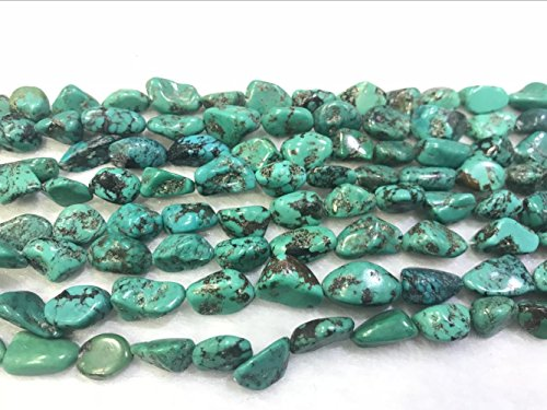 (TheTasteJewelry 8x12mm Nugget Natural Green Turquoise Beads 15 inches 38cm Jewelry Making Necklace Healing -)