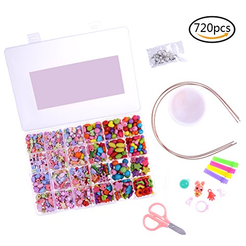 Buytra 720 Pieces Kids Beads Colorful Craft Acrylic Beads with Bonus Accessories for Jewelry Making Bracelets, Necklaces (Ages 3 up Recommended)