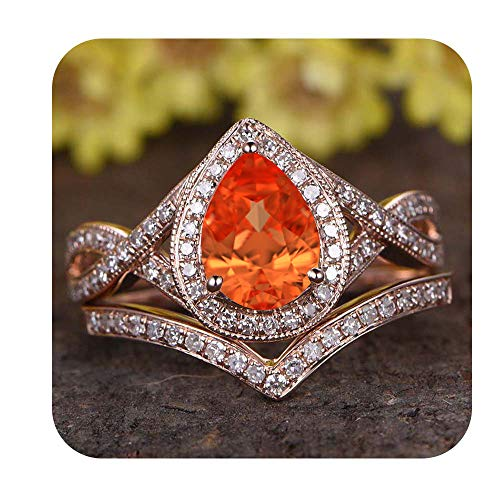 - tusakha 6x8mm Pear Cut Created Orange Sapphire & Diamond 18k Rose Gold Over .925 Sterling Silver Infinity Wedding Bridal Halo Ring Cuvred Band Set for Women's for Women's