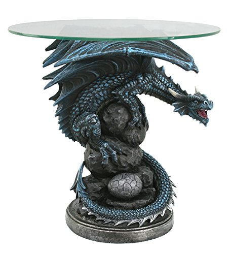 - Pacific Giftware Roaring Guardian Dragon Glass Top End Table Fantasy Home Decor 22 Inch Tall