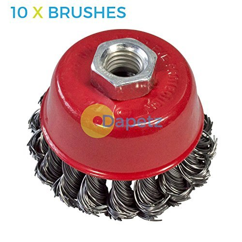 Dapetz ® 10x Twist Knot Wire Wheel Cup Brush 3' M14-4 1/2' 115mm Angle Grinder