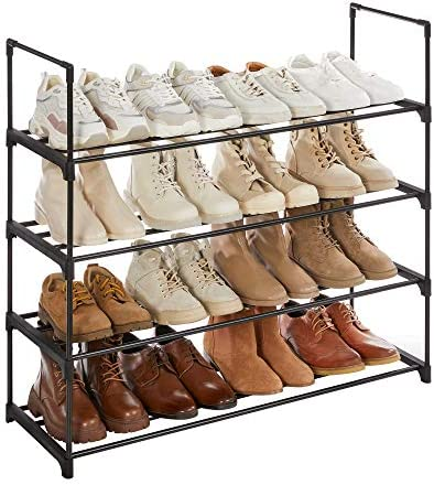 SONGMICS Shoe Rack, 4-Tier Shoe Organizer, Hold as much as 20 Pairs of Shoes, Stackable Shoe Tower for Living Room, Entryway, Black ULSA14BK