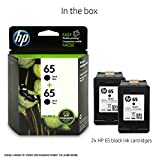 HP 65 Black Original Ink Cartridge (N9K02AN), 2 Cartridges (1VU22AN) for HP DeskJet 2624 2652 2655 3722 3752 3755 3758