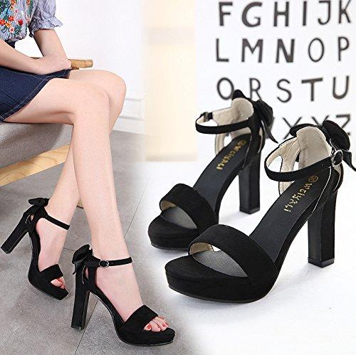 ZHZNVX Nuevo y elegante mujer bold alto talón impermeable sandalias de plataforma black