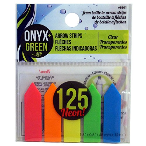(Onyx and Green 125-Pack Self-Adhesive Arrow Strips, Recycled PET, Assorted Colors)