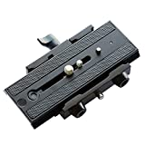 FLYCAM CNC Aluminium made Robust Quick Release Camera Base Plate with 1/4' and 3/8' Screws For Video Tripod and DSLR Camera Stabilizer Steadycam Slider (FLCM-QR)