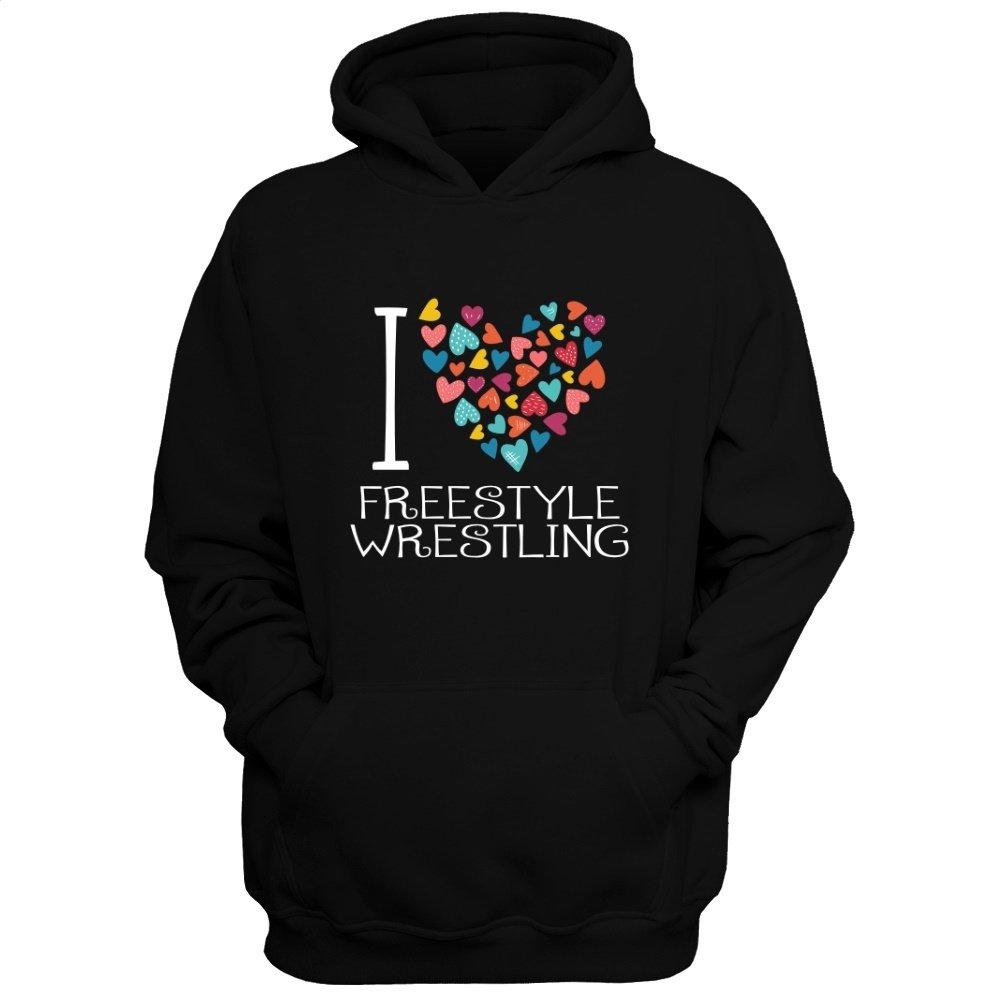 Idakoos I Love Freestyle Wrestling colorful hearts - Sports - Hoodie by Idakoos