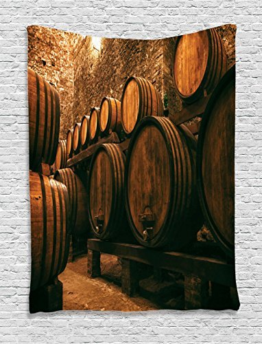 Ambesonne Winery Decor Collection, Barrels for Storage of Wine Italy Oak Container in Cold Dark Underground Cellar , Bedroom Living Room Dorm Wall Hanging Tapestry, Sienna Peru Brown