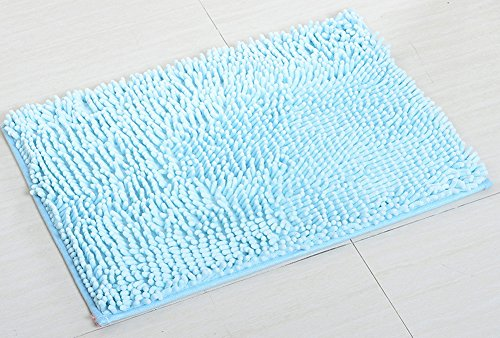YJ Bear Chenille Rectangle Anti-slip Microfiber Doormat Solid Color Non-Slip Area Rug Carpet Shaggy Floor mat Soft Bath Mat for Home Bedroom Sky Blue 18