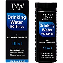 JNW Direct Water Test Strips 15 in 1 - Drinking Water Testing Strip Kit for Lead, Iron, Copper, pH, Fluoride, and More, Fast & Accurate, 100 Strips