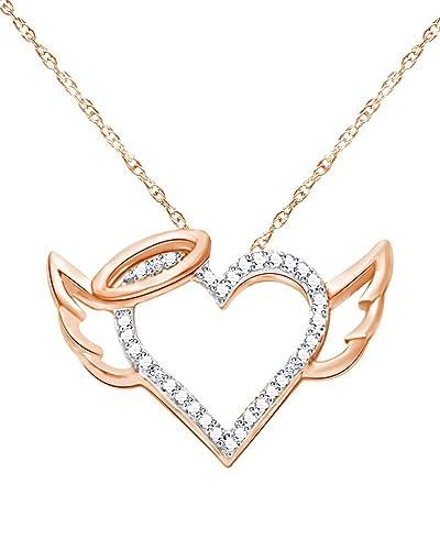 Amazon round cut diamond accent halo winged heart pendant in amazon round cut diamond accent halo winged heart pendant in 14k gold over sterling silver jewelry aloadofball Gallery