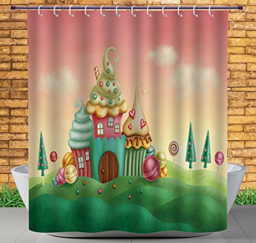 iPrint Funky Shower Curtain by, Teen Girls Decor Collection,Fantasy Houses from Cupcakes Candy Sweets in Grassland Children Art Print,Coral Green,Polyester Bathroom Accessories Home Decoration