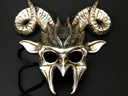 MasqStudio Silver Goat Mask Animal Ram Masquerade Halloween Cosplay Big Horns -